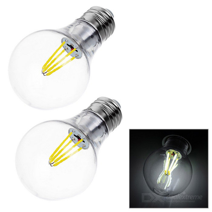 JRLED E27 4W 4-COB LED Globe Bulb Lamp Cold White Light 500lm (2PCS)