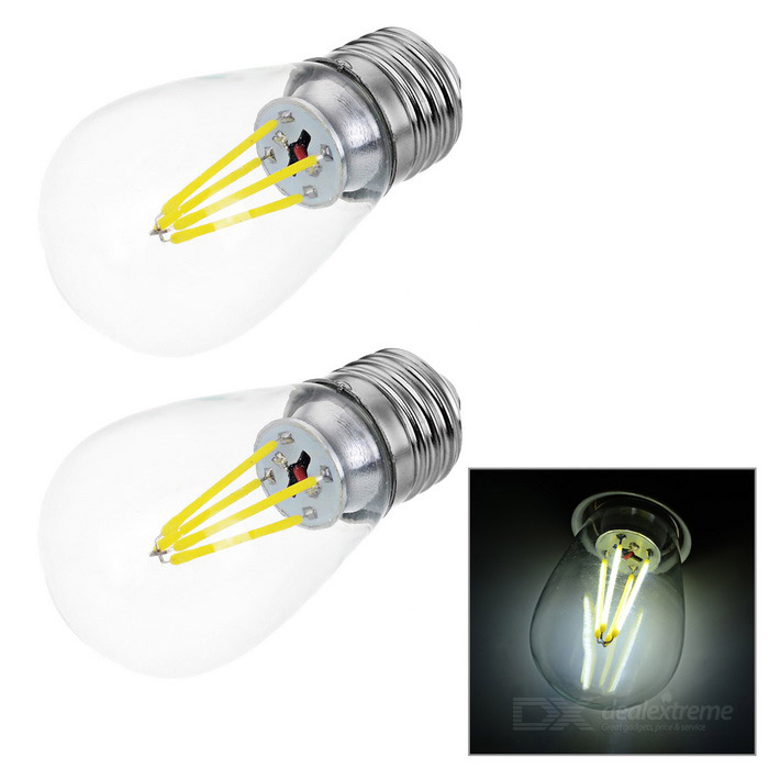 JRLED E27 4W 4-COB LED Bulb Lamp Cold White Light 6450K 400lm (2PCS)