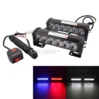 "MZ 6"" 6LED 2x18W Car Flash Warning Light Red+Blue Change White Emergency Light Waterproof 12V Pair"
