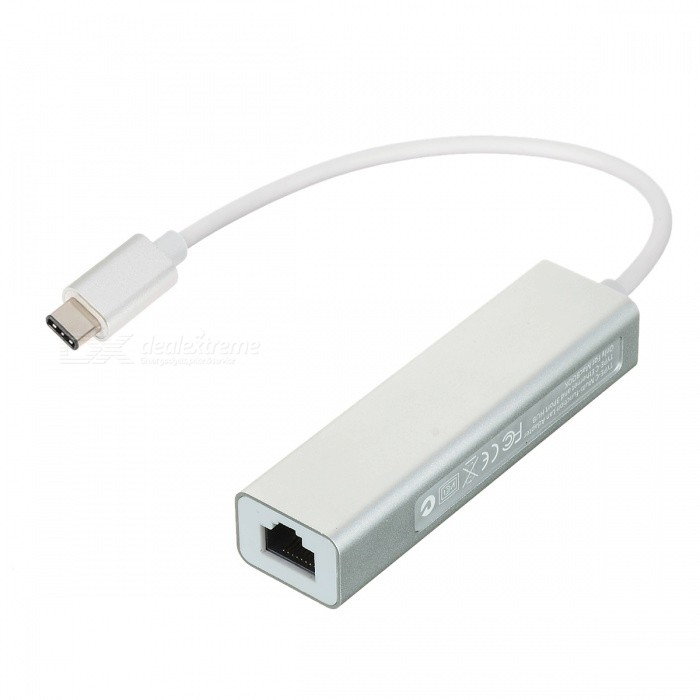 USB 3.1 Type C to RJ45 10/100M Network Adapter & USB 3.0 Hub - Silver