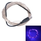 USB Powered 3W 250lm 450nm 50-SMD 0603 LED Purple Light Strip - Silver + Black (DC 5V / 5M)