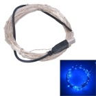 USB Powered 3W 250lm 50-SMD LED Blue Light Strip - Silver + Black (5m)
