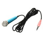 3.5mm omnidirektionales Mini-Mikrofon mit Audio-Kabel - blau + schwarz