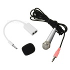 3.5mm Omnidirectional Mini Microphone w/ Audio Cable - Black + Silver