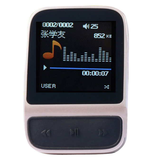 Smart Sports MP3 Music Player Bracelet w/ 1.41 TFT 4GB Memory - Champagne Gold + BlackMP3 Players<br>Form  ColorChampagne + BlackBuilt-in Memory / RAM4GBQuantity1 DX.PCM.Model.AttributeModel.UnitMaterialABS plasticShade Of ColorGoldScreen TypeTFTTouch Screen TypeNoScreen Size1.41 DX.PCM.Model.AttributeModel.UnitScreen Resolution128 x 128Memory Card TypeN/AMax Extended CapacityN/AAudio Compression FormatAPE,FLAC,MP3,WAVVideoAVIImagesJPEG,JPGE-bookTXTFM Frequency87.5MHz~108MHzHeadphone Jack3.5mmOther Interfacemicro USBBattery Capacity320 DX.PCM.Model.AttributeModel.UnitWorking Time24 DX.PCM.Model.AttributeModel.UnitBattery TypeLi-ion batteryPower SupplyDC 5VPower AdapterEU PlugLoud Speaker Function NoLyrics DisplayNoMenu LanguageEnglish,French,German,Italian,Portuguese,Russian,Japanese,Korean,Thai,Malay,Slovak,Chinese Simplified,Chinese Traditional,HebrewAudio ModeRock,Jazz,ClassicalDisplay ModeMusic comes from; Repeat; Random broadcast; Restudy setPacking List1 x MP3 player1 x USB cable(100cm±2cm)1 x Bandage1 x Charger (EU plug ,100-240V)1 x English /Chinese Manual<br>
