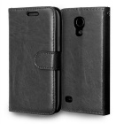 High Quality PU Leather Flip Mobile Phone Wallet Style Cover Case for Samsung Galaxy S4 Mini - Black