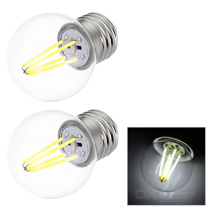 JRLED E27 4W 4-COB LED Mini Globe Bulb Lamp Cold White Light (2PCS)E27<br>Form  ColorSilver + Transparent + Multi-ColoredColor BINCool white, AC220VMaterialAluminum alloy + PCQuantity2 DX.PCM.Model.AttributeModel.UnitPower4WRated VoltageAC 220 DX.PCM.Model.AttributeModel.UnitConnector TypeE27Emitter TypeCOBTotal Emitters4Theoretical Lumens400 DX.PCM.Model.AttributeModel.UnitActual Lumens270~400 DX.PCM.Model.AttributeModel.UnitColor Temperature12000K,Others,6000~6450KDimmableNoBeam Angle360 DX.PCM.Model.AttributeModel.UnitOther FeaturesCan replace the traditional 40W tungsten filament bulb.Packing List2 x Bulbs<br>