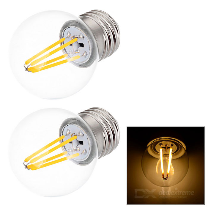 JRLED E27 4W 4-COB LED mini globo lâmpada lâmpada morna luz branca (2PCS)
