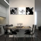 Bizhen Frame-free Painting Canvas Wall Decor Murals - Black (3PCS)