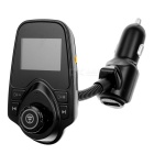 "T10 1.5"" LCD Bluetooth V3.0 Handsfree Car FM Transmitter MP3 Player Voltage Tester - Black (12~24V)"