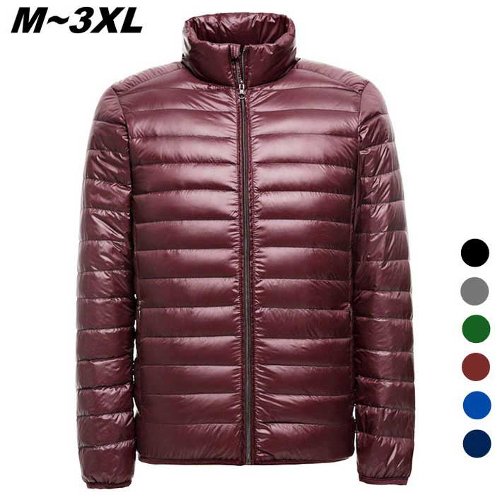 Mens Ultra Light Thin Down Jacket Coats - Red (XXL)Jackets and Coats<br>Form  ColorRedSizeXXLQuantity1 DX.PCM.Model.AttributeModel.UnitShade Of ColorRedMaterialFace&amp;Lining:100% Polyester ; Filling:90%Down,10%   PolyesterStyleCasualTop FlyZipperShoulder Width49 DX.PCM.Model.AttributeModel.UnitChest Girth122 DX.PCM.Model.AttributeModel.UnitWaist Girth122 DX.PCM.Model.AttributeModel.UnitSleeve Length65 DX.PCM.Model.AttributeModel.UnitTotal Length71 DX.PCM.Model.AttributeModel.UnitSuitable for Height178-183 DX.PCM.Model.AttributeModel.UnitPacking List1 x Coat<br>