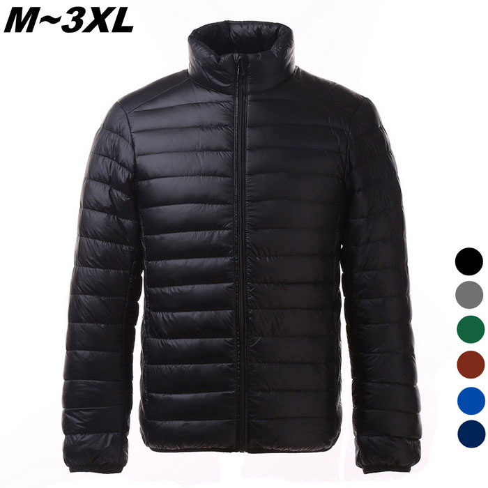 Mens Ultra Light Thin Down Jacket Coats - Black (L)Jackets and Coats<br>Form  ColorBlackSizeLQuantity1 DX.PCM.Model.AttributeModel.UnitShade Of ColorBlackMaterialFace&amp;Lining:100% Polyester ; Filling:90%Down,10%   PolyesterStyleCasualTop FlyZipperShoulder Width47 DX.PCM.Model.AttributeModel.UnitChest Girth114 DX.PCM.Model.AttributeModel.UnitWaist Girth114 DX.PCM.Model.AttributeModel.UnitSleeve Length63 DX.PCM.Model.AttributeModel.UnitTotal Length67 DX.PCM.Model.AttributeModel.UnitSuitable for Height166-172 DX.PCM.Model.AttributeModel.UnitPacking List1 x Coat<br>