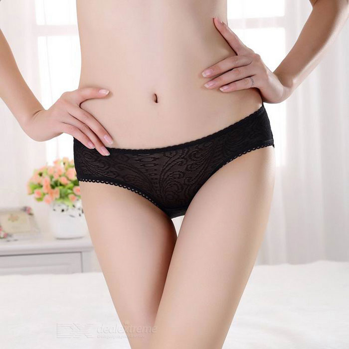 Women's Hollow Bare Buttock Embroidered Lace Underwear - Black