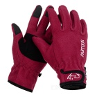 Wind Tour Outdoor Cycling Anti-Slip Warm Wind-proof Touch Screen Full Finger Gloves - Red (L/ Pair)