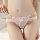 Sexy Bare Buttock Embroidered Flower Lace Thong G-String Panties Underwear for Women - Skin Color