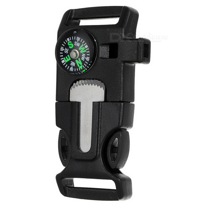 Buckle Multi-Tool w/ Survival Whistle / Flint / Scraper - Black