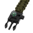 Survival Paracord Bracelet w/ Whistle, Flint - Army Green+Black