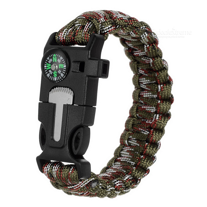 Survival Paracord Bracelet w/ Whistle Compass - Black + AT Camouflage