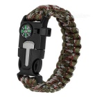 """Outdoor Survival Paracord Pulseira w / Survival Whistle Flint raspador Compass - Black + AT Camouflage"""
