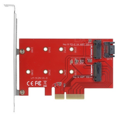 Computer PCI-e X4 M NGFF(M.2) + B NGFF(M.2) Extension Card - Red