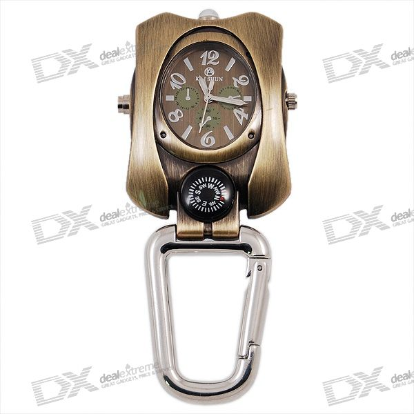 Watch Compass and Flashlight Metal Sports Clip
