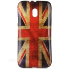 UK Flag Pattern Protective TPU Back Case Cover for Motorola Moto G 3rd Gen Generation - Red + Blue
