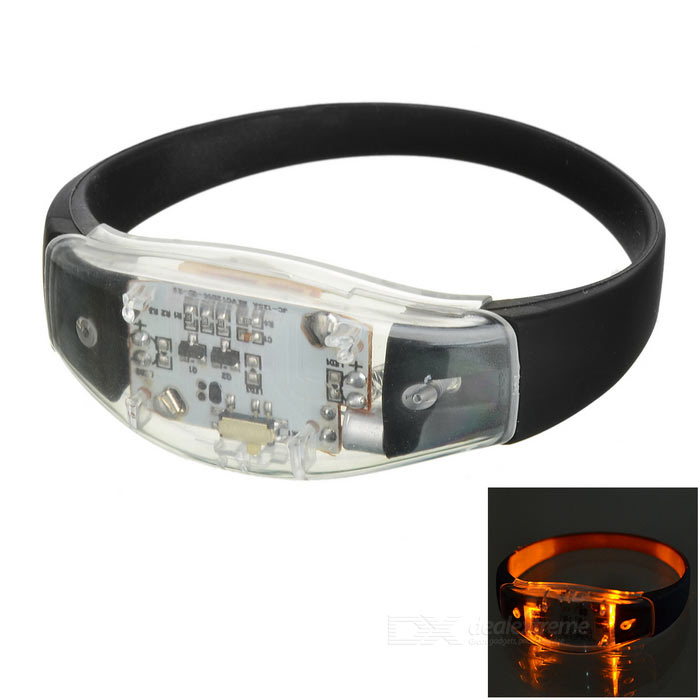 CTSmart Voice Control Yellow Light Flash LED Safety Bracelet - Black