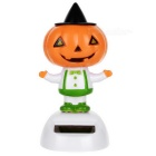 Solar Powered Cute Dancing Pumpkin Man Home Desk Table Decoration Car Decor - Orange + White