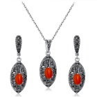 Di cava retrò cristallo intarsiato Earrings + Necklace Xinguang Donna - argento antico