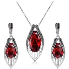 Xinguang Women's Noble Retro Crystal Earrings + Pendant Necklace Set - Antique Silver