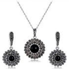 Xinguang Women's Retro Sun Flower Like Crystal Earrings + Necklace - Antique Silver + Black