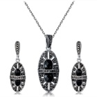 Xinguang Womens Unique Hollow Oval Stone Imitation Crystal Earrings Necklace