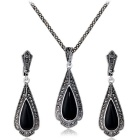Xinguang Women's Retro Drop Shaped Earrings + Necklace - Black + Antique Silver