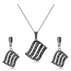 Xinguang Women's Curved Retro Crystal Earrings + Necklace - Antique Silver