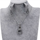 Xinguang Women's Simple Retro Earrings + Necklace - Antique Silver