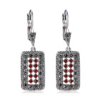 Xinguang rectangle boucles d'oreilles incrustées de cristal + collier - argent antique