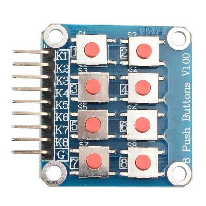 4*2 8-Key Matrix Keyboard Module MCU Extension for ArduinoBoards &amp; Shields<br>Form  ColorBlue + Silver + Multi-ColoredModelN/AQuantity1 pieceMaterialPCBDownload Link   NoPacking List1 x 4x2 Matrix Keyboard Module<br>