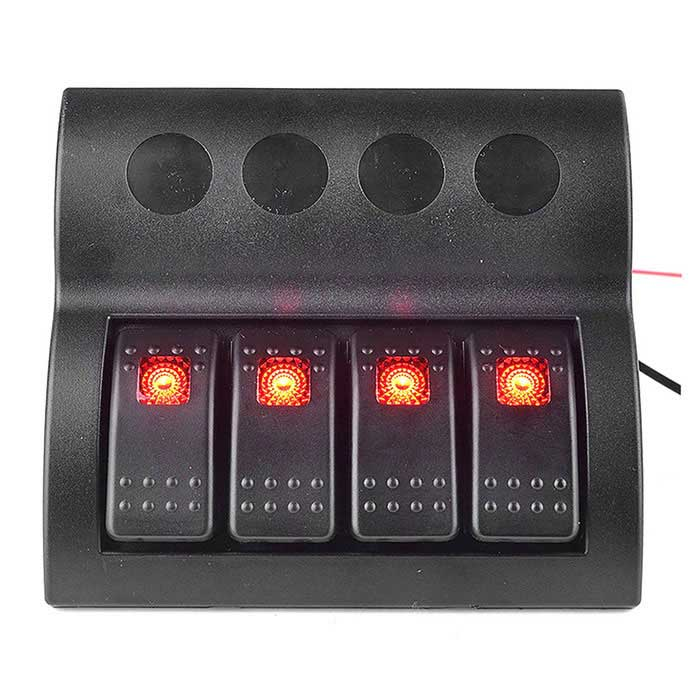 IZTOSS ON-OFF 12V/24V Rocker Switch Panel w/ Red LED for Boat - BlackCar Switches<br>Form  ColorBlack + Red + Multi-ColoredModelS8200R-4Quantity1 DX.PCM.Model.AttributeModel.UnitMaterialEnvironmentally friendly flame retardant materialIndicator LightYesRate Voltage12-24VRated Current10 DX.PCM.Model.AttributeModel.UnitOther FeaturesVoltage: 12V 24V DC;<br>Material: UV resistant contoured plastic panel and face plate;<br>Number of Switches: 4;<br>Number of Circuit breakers: 4 (1 x 5 Amp, 2 x 10 Amp, 1 x 15 Amp);<br>Rating: IP68;<br>Dimensions: Height 131mm, Width 120mm;<br>Cutout required: 105mm x 93mm;<br>LED Color: RED.Packing List1 x 4-group switch panel6 x Screws1 x Switch button sticker<br>