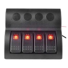 IZTOSS ON-OFF 12V/24V Waterproof Rocker Switch Panel w/ Red LED Auto Fuses for Marine Boat Caravan