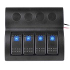 IZTOSS 4-Group 12V/24V Waterproof Rocker Switch Panel w/ Blue LED Auto Fuses for Marine Boat Caravan