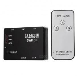 3-Port 1080P Video HDMI Switcher w/ IR Remote for HDTV PS3 DVD