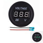 Waterproof Voltmeter Green LED Display for Autos, Motorcycle - Black
