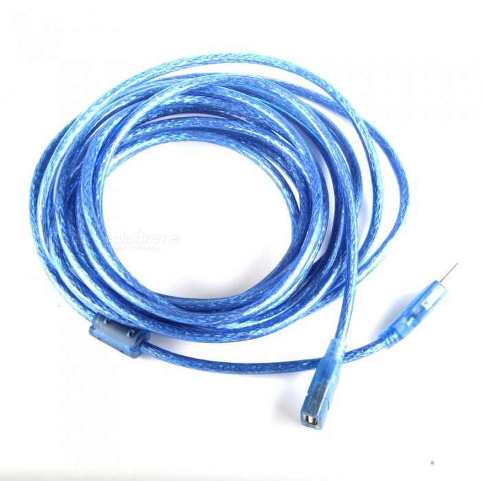 USB 2.0 Male to Female Data Cable w/ Magnetic Ring for PC - Blue (5m)
