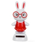 Solar Powered Cute Dancing Rabbit Home Desk Table Decoration Car Decor - White + Red