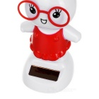 Solar Powered Dancing Rabbit Desk Table Decoration Car Decor - Red