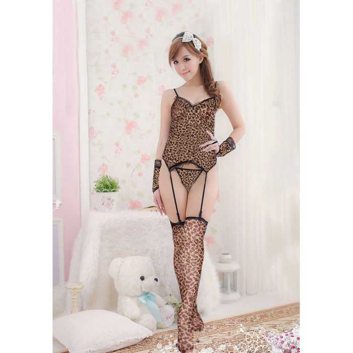 Leopard Print Top + Stockings + Thong + Gloves Lingerie Set - Black