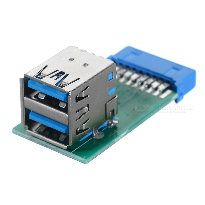 CY U3-280 Vertical USB 3.0 A to Motherboard 20Pin Adapter - Green+Blue
