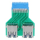 CY U3-279 Dual USB 3.0 A Type Female to Motherboard 20 Pin Box Header Slot Adapter PCBA