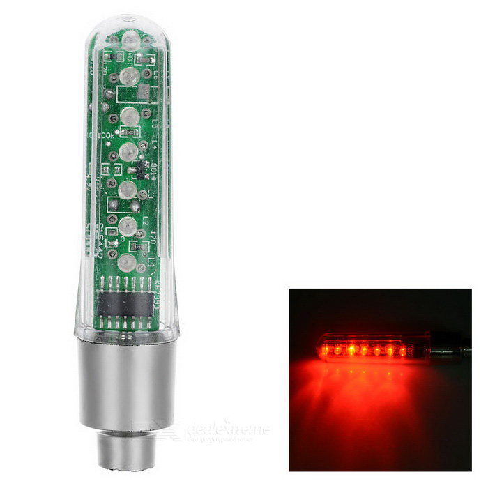 """I LOVE YOU"" Pattern 7-LED Red Light Bike Wheel Valve Light - Silver"
