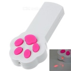 Paw Prints Design 2-Mode Laser Teasing Toy for Pet / Cat - White + Deep Pink (2 x AAA)